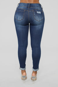 Turnin' Heads Low Rise Jeans - Dark Denim