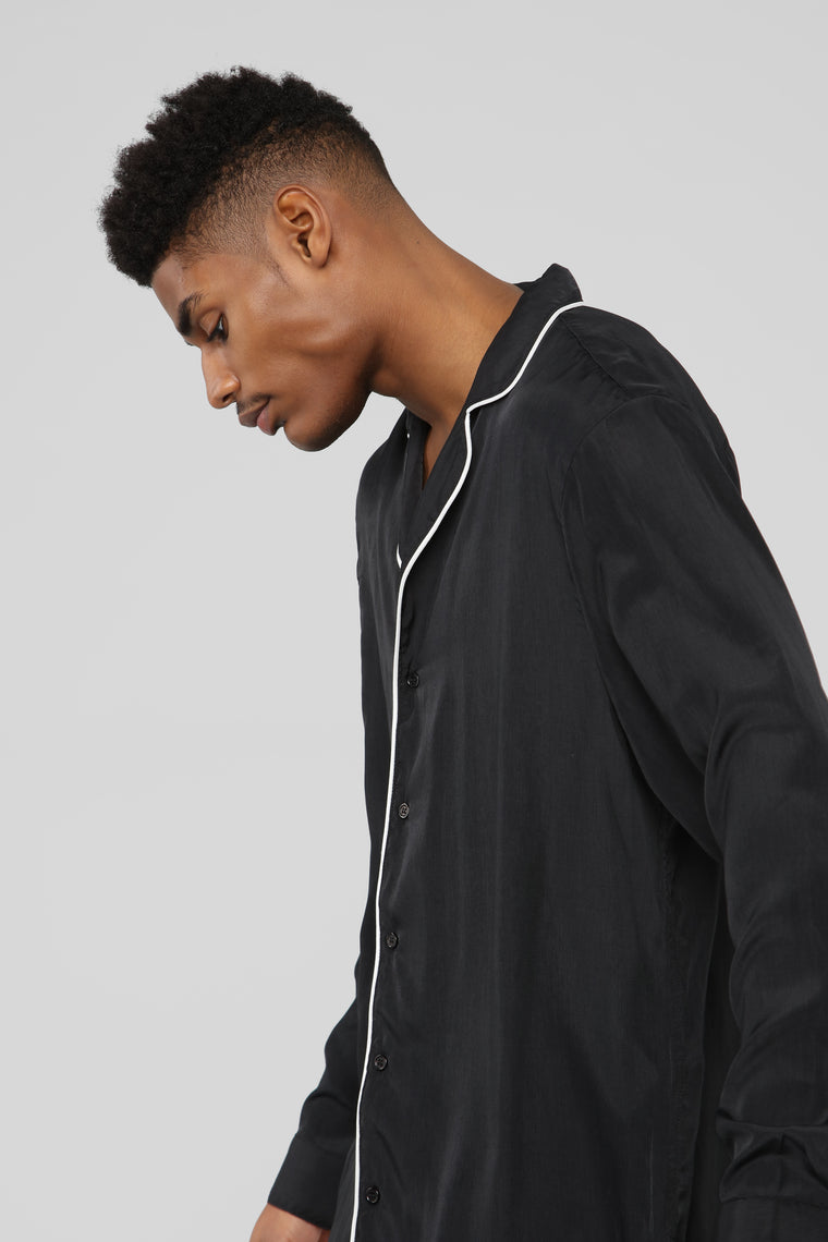 Classic Stan Long Sleeve Woven Top - Black/White