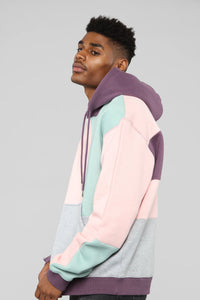 80's Color Block Hoodie - Pink/Combo Angle 5