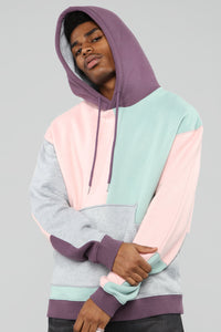 80's Color Block Hoodie - Pink/Combo Angle 3