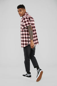 Austin Side Zip Short Sleeve Flannel Shirt - Red/Combo