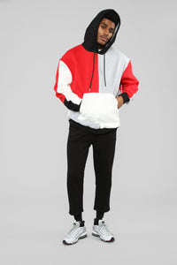 80's Color Block Hoodie - Red/Combo