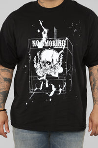 No Smoking Short Sleeve Tee - Black/White Angle 12
