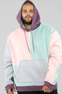 80's Color Block Hoodie - Pink/Combo Angle 7