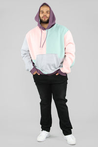 80's Color Block Hoodie - Pink/Combo Angle 8
