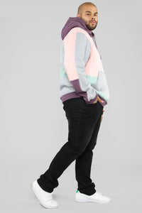 80's Color Block Hoodie - Pink/Combo Angle 10