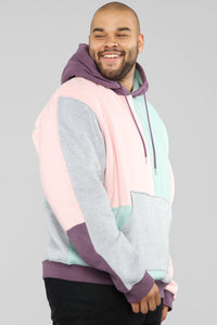 80's Color Block Hoodie - Pink/Combo Angle 9