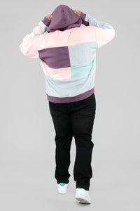 80's Color Block Hoodie - Pink/Combo Angle 11
