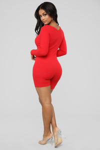 Some Like 'Em Soft Ribbed Romper - Red