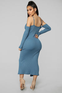 Five More Minutes Cold Shoulder Dress - Blue