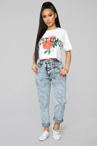 West Coast Short Sleeve Crop Top - White