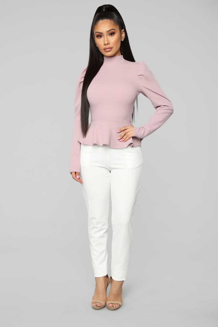 Just Roll With It Peplum Top - Rose