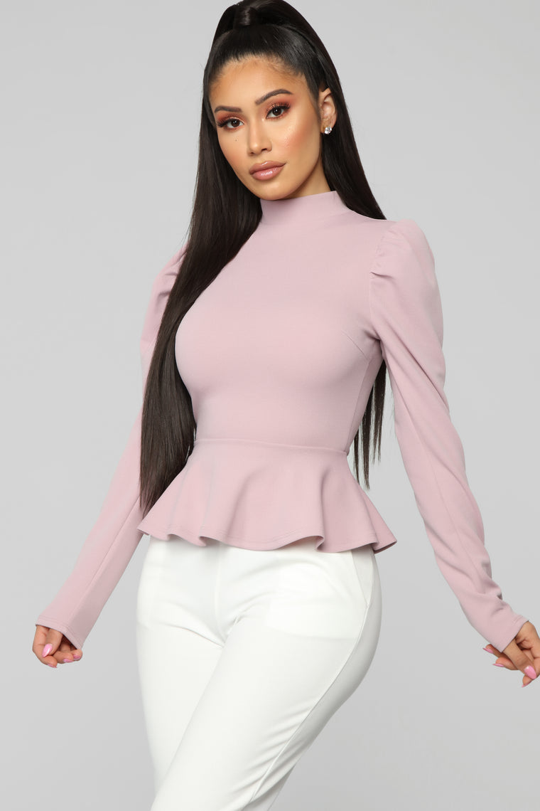 Just Roll With It Peplum Top   Rose by Fashion Nova