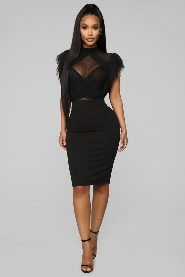 654033f19fc I Invented Class Mesh Midi Dress - Black