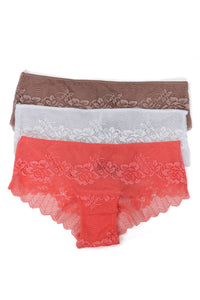 Pretty Days 3 Pack Hipster Panties - Taupe/Combo