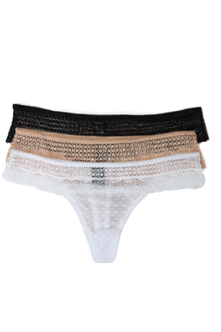 Next Move 3 Pack Thong Panties - White/Combo