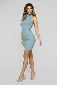 Window Shopper Sweater Dress - Dusty Teal