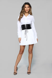 Set In Her Ways Corset Shirt Dress - White