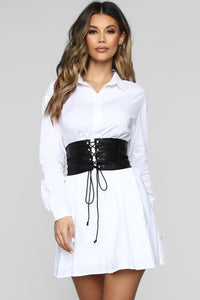 Set In Her Ways Corset Shirt Dress - White Angle 1