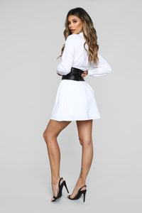 Set In Her Ways Corset Shirt Dress - White Angle 4