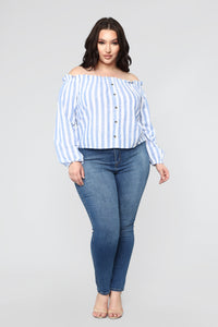 Stripe Oasis Button Top - Blue/Combo Angle 7