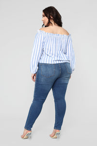 Stripe Oasis Button Top - Blue/Combo Angle 10