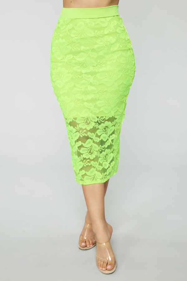 ec54fb487a Laid In Lace Skirt - Neon Green