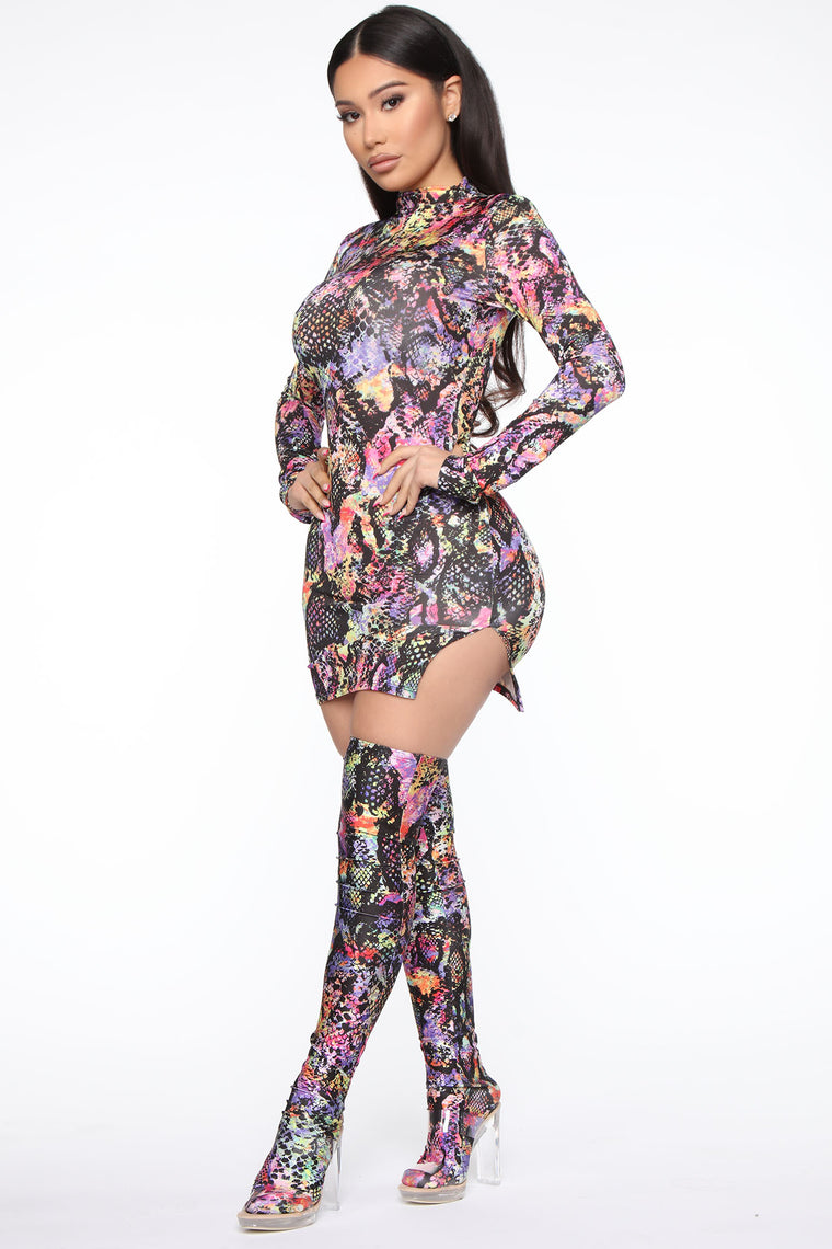 Electric Nights Snake Print Mini Dress - Black/combo