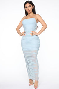 My Money Thick Maxi Dress - Blue Angle 2