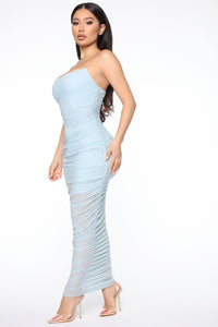 My Money Thick Maxi Dress - Blue Angle 5