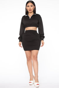 Repeating Itself Skirt Set - Black Angle 2