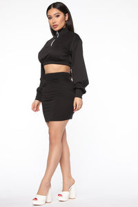 Repeating Itself Skirt Set - Black Angle 3