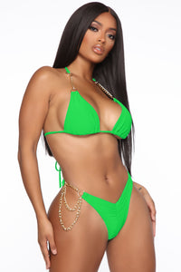Chain Hang Low 2 Piece Bikini - Kelly Green Angle 1