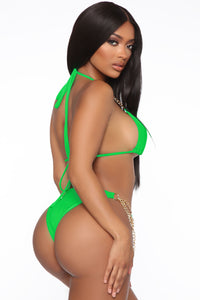 Chain Hang Low 2 Piece Bikini - Kelly Green Angle 2