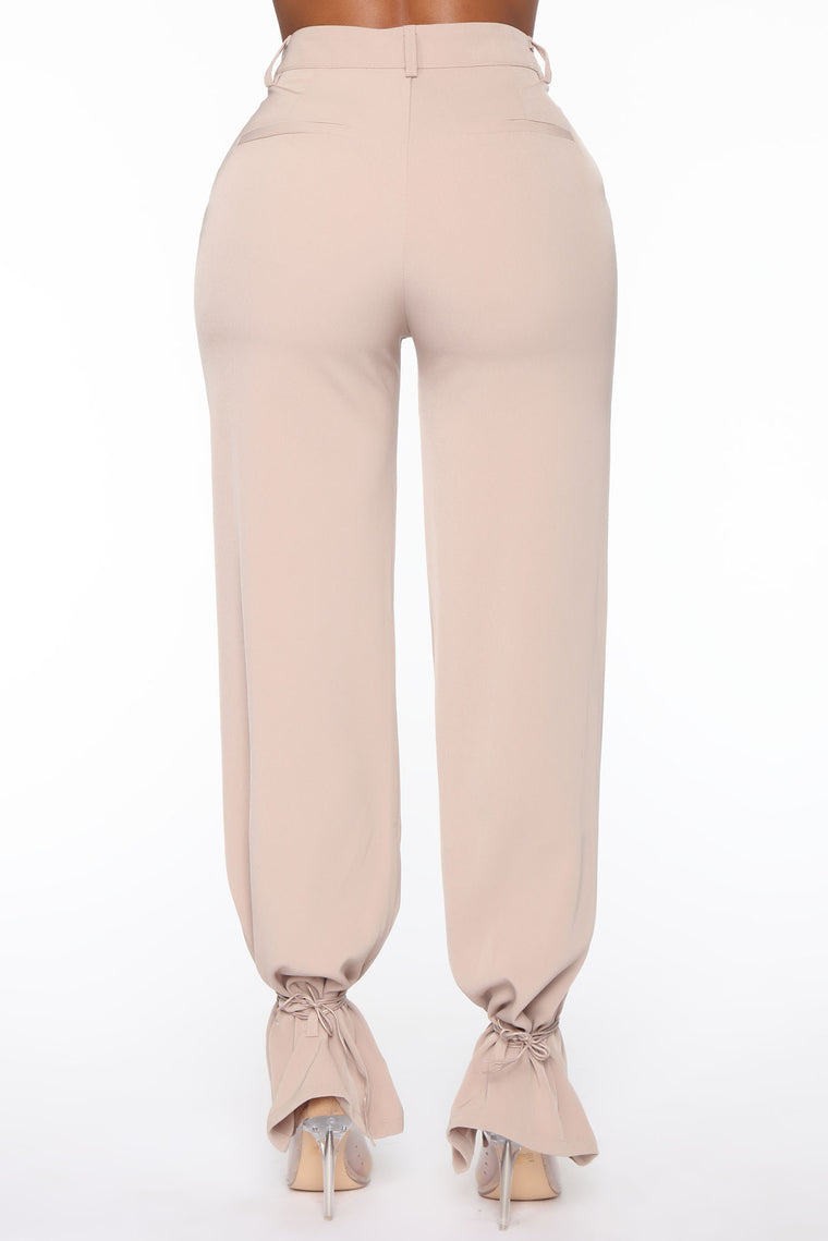 Tied Up At Work High Waist Trouser - Tan