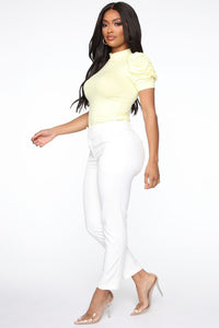 Sheer My Sleeve Top - Yellow Angle 4