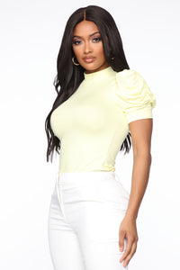 Sheer My Sleeve Top - Yellow Angle 3