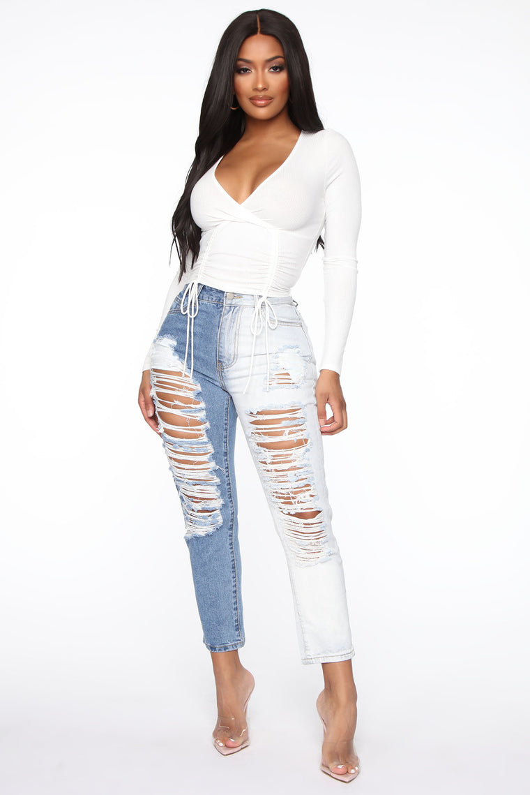 Two Sided Story Distressed Straight Leg Jeans - Light Blue Wash