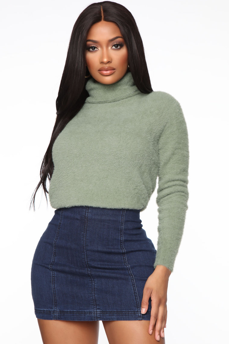 Snuggle Me Up Sweater - Olive