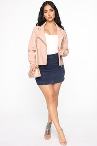 Out For A Ride Vegan Leather Moto Jacket - Blush Angle 2