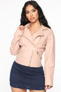 Out For A Ride Vegan Leather Moto Jacket - Blush Angle 1
