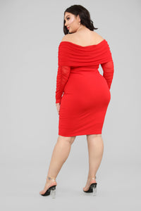Take Me On A Dinner Date Dress - Red Angle 7