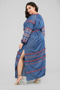 Nothing More Embroidered Maxi Dress - Denim Blue Angle 9