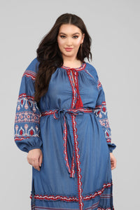 Nothing More Embroidered Maxi Dress - Denim Blue Angle 7