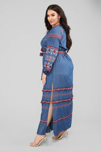 Nothing More Embroidered Maxi Dress - Denim Blue Angle 8