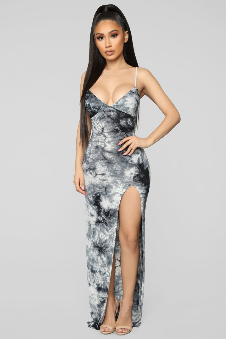 Dying For Your Love Tie Dye Maxi Dress - White/Black