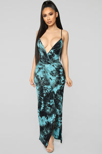 Things Happen Tie Dye Maxi Dress - Black/Teal