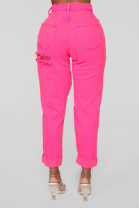 Time To Burn Distressed Boyfriend Jeans - Pink
