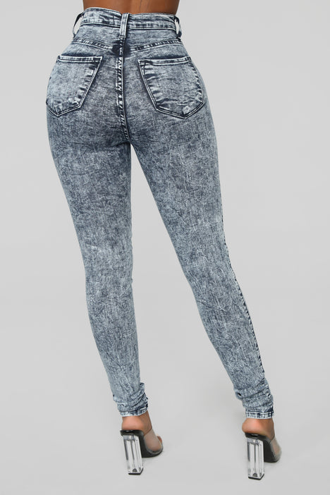Vintage Acid Wash High Waisted Jeans with Stretch