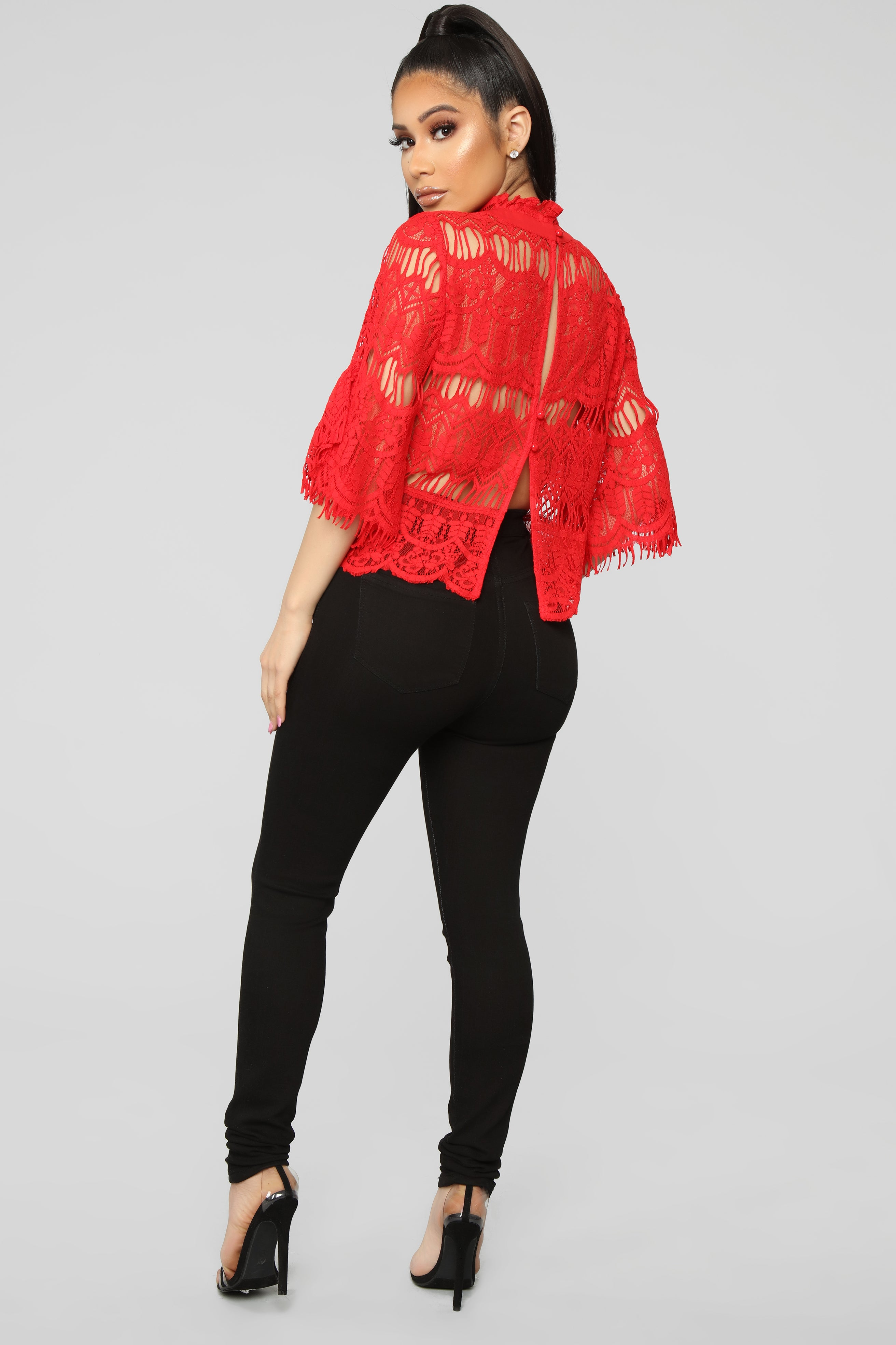 Lace Night Out Blouse Red